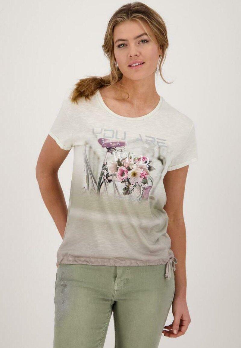 Monari - Print T-shirt - dusty green gemustert