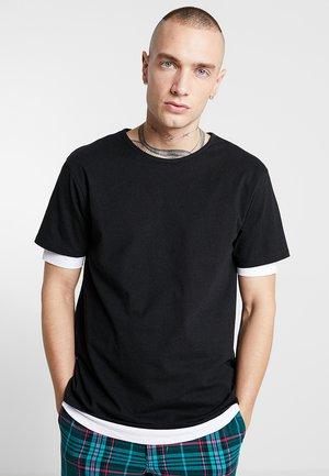FULL DOUBLE LAYERED TEE - Jednoduché triko - black/white
