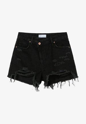 MIT RISSEN - Jeans Shorts - black