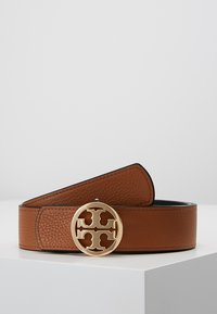 Tory Burch - REVERSIBLE LOGO - Ceinture - black/saddle - 3