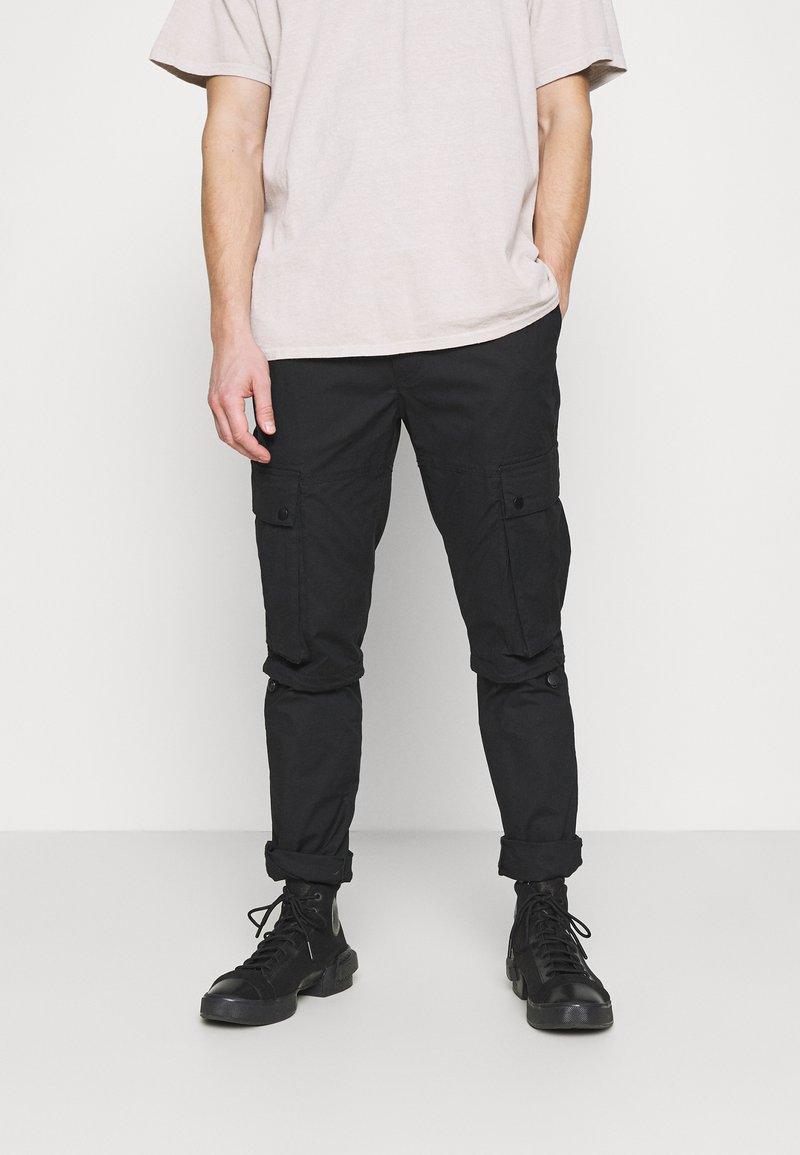 Topman - TECH BUNGEE - Cargo trousers - black