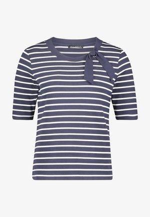 Print T-shirt - dunkelblau weiß