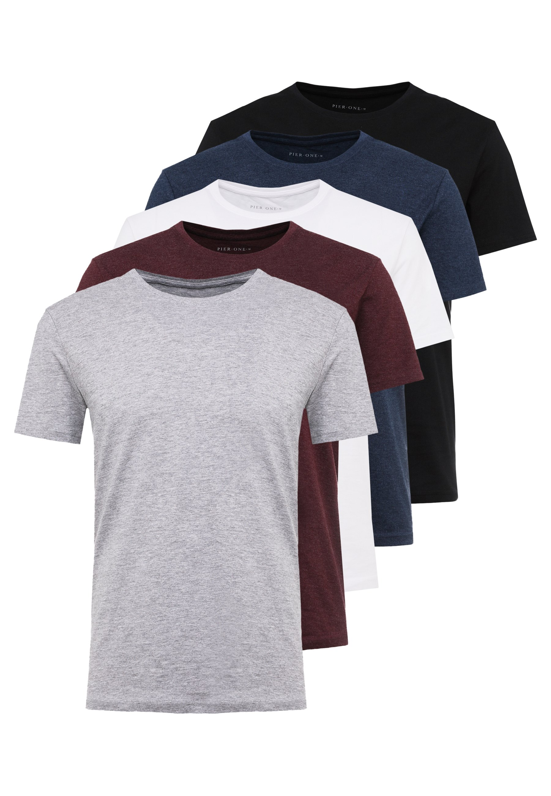 Pier One 5 Pack - T-shirts Mottled Bordeaux/white/vinrød-melert