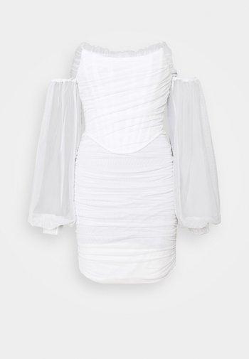 DRAPED BALLOON BODYCON DRESS - Kjole - white