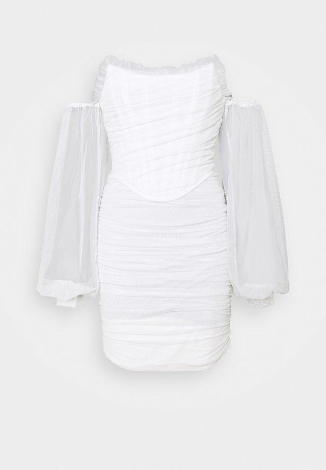 DRAPED BALLOON BODYCON DRESS - Sukienka letnia - white