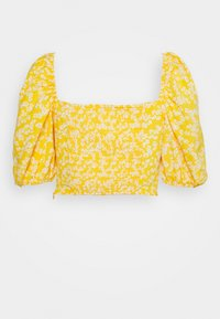 Glamorous - CARE FLORAL PRINTED TIE FRONT CROP - Bluser - yellow - 1