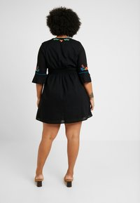 Simply Be - EMBROIDERED V NECK DRESS - Day dress - black - 3