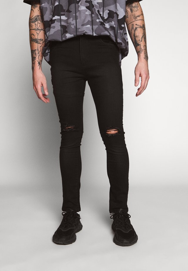SCRATCH RIPPED KNEE - Skinny-Farkut - black