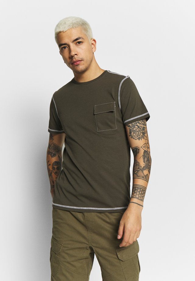 ANOTHER INFLUENCE UTILITY  - T-shirts basic - khaki