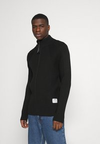 G-Star - 3D BIKER ZIP THRU KNIT L\S - Kofta - cotton tone fusion knit o - dk black - 0