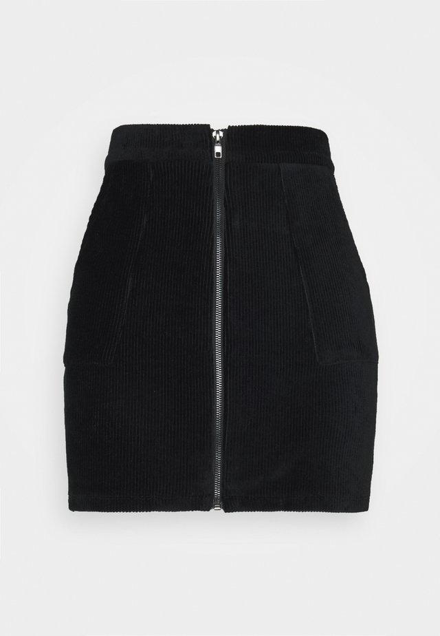 CORDUROY high waisted skirt - Minigonna - black