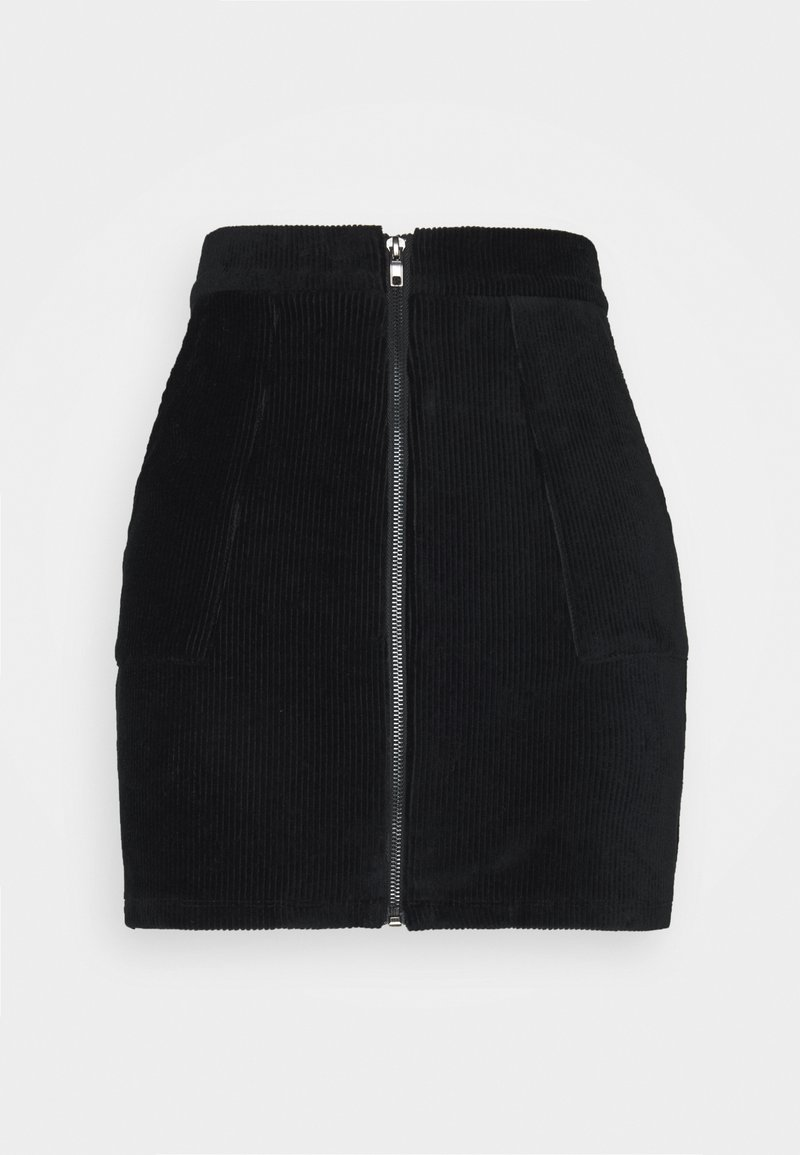 Even&Odd Petite - CORDUROY high waisted skirt - Mini skirts  - black