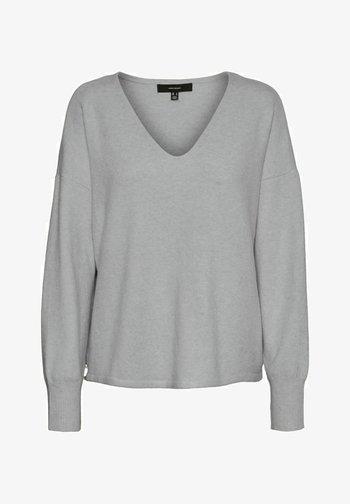 VMDOFFY V NECK - Jumper - light grey melange