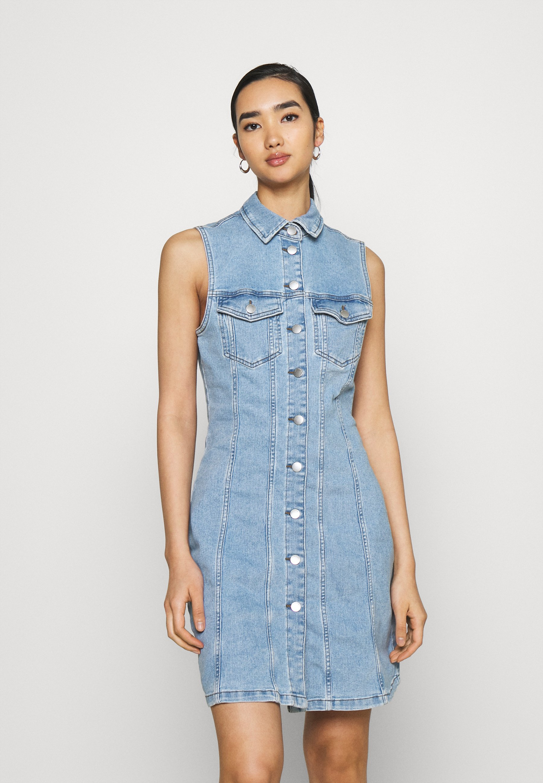 Women JDYSANNA LIFE BUTTON DRESS - Denim dress