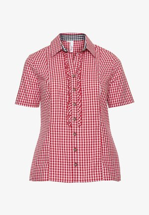 Button-down blouse - rot-weiß