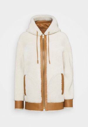 REVERSIBLE HOODIE - Leather jacket - cream/pecan