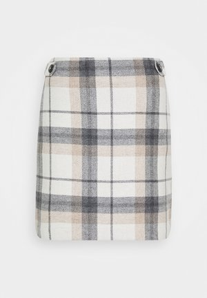 CHECK SKIRT - Mini skirt - beige
