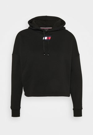 CROPPED HOODY FLAG LOGO - Bluza z kapturem - black