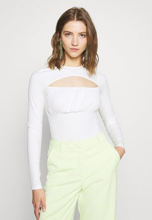 GATHERED BODY - Long sleeved top - white