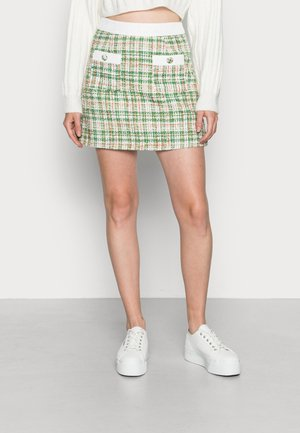HIGH WAISTED FITTED TWEED SKIRT - Minigonna - green tweed white