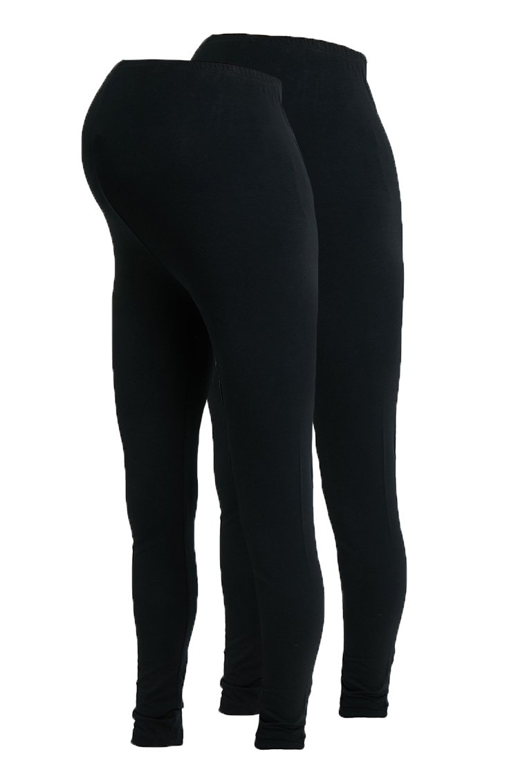 MAMALICIOUS - MLLEA LONG 2 PACK - Leggings - Trousers - black
