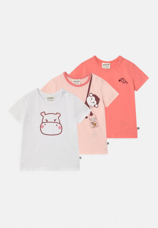JUNGLE GIRL 3 PACK - T-shirt med print - light pink/white