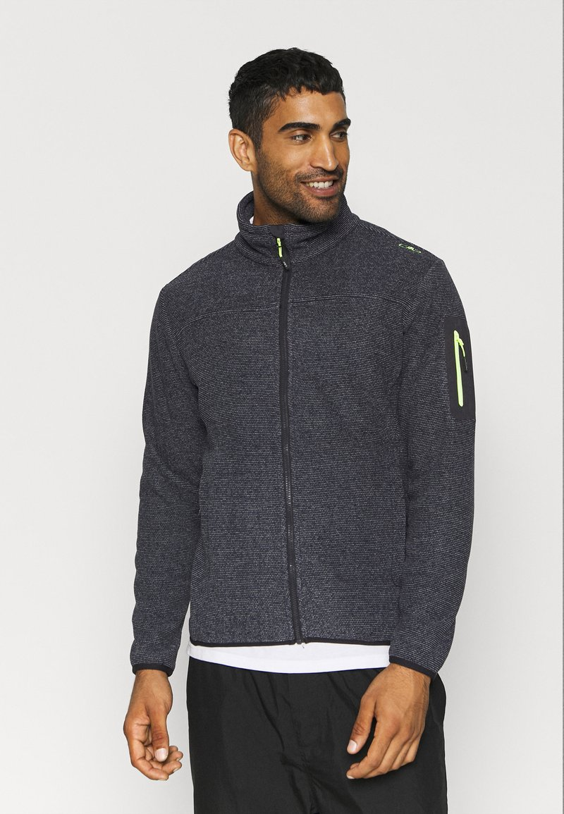CMP - MAN JACKET - Fleece jacket - antracite/grey/yellow fluo