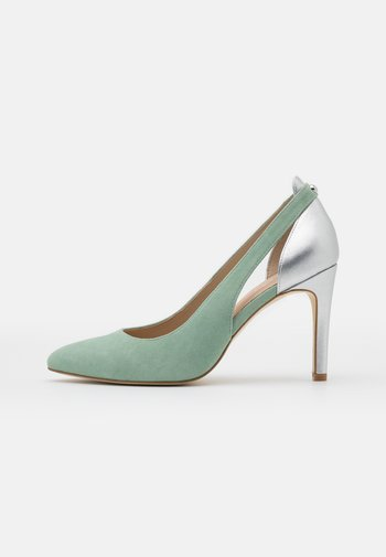 LEATHER - High heels - mint/silver