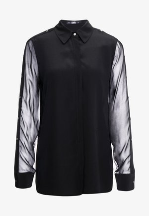 BUTTON PLACKET - Button-down blouse - black