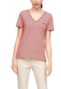 s.Oliver - MIT PRINT-DETAIL - Print T-shirt - true red stripes - 6