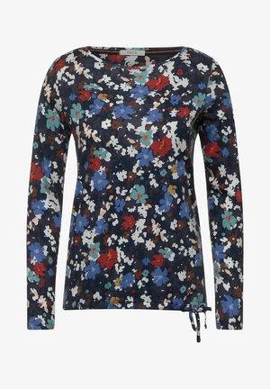 MIT BLUMEN  - Long sleeved top - blau