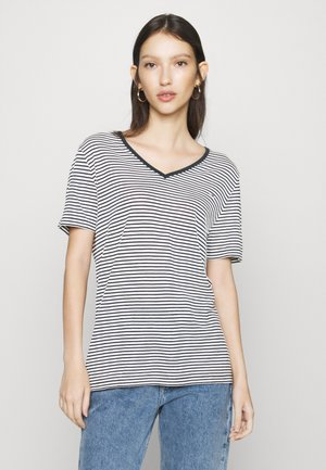 TEXTURE FEEL V NECK TEE - Print T-shirt - twilight navy/white