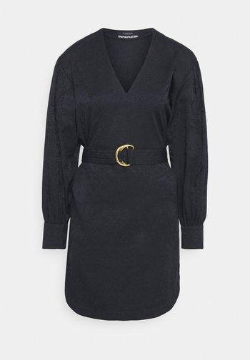 LONG SLEEVE DRESS WITH V NECK - Day dress - blue