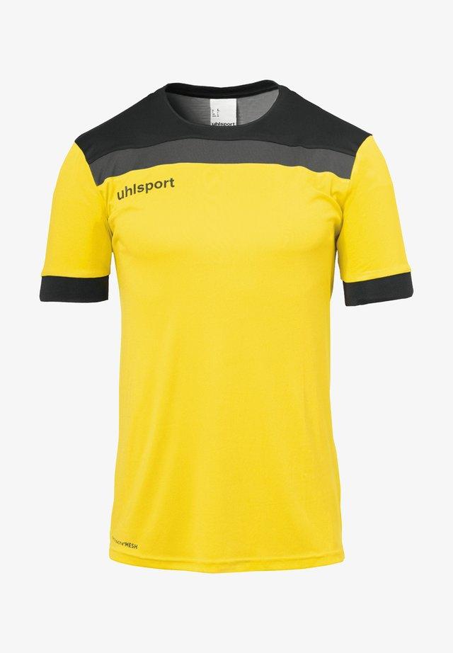 Print T-shirt - gelbschwarzgrau