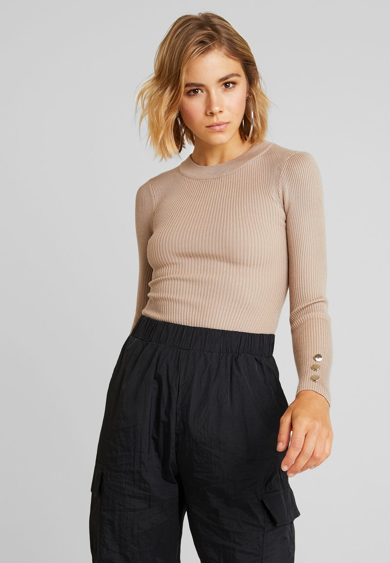 Missguided - BUTTON CUFF CREW NECK - Sweter - sand