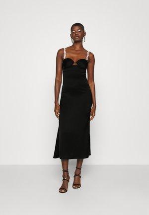 CHAIN STRAPS FLOUNCE DRESS - Koktailové šaty/večierkové šaty - black/silver-coloured