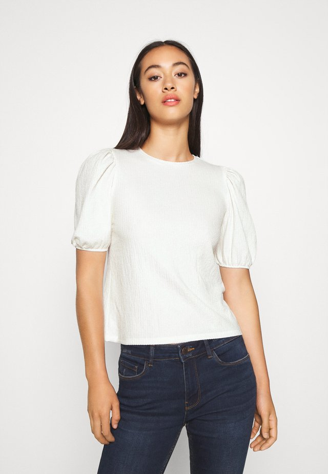 PUFF SLEEVE - T-shirts med print - off white