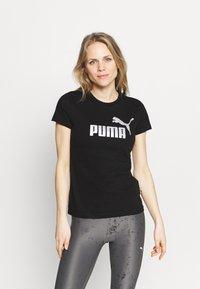 Puma - METALLIC LOGO TEE - Camiseta estampada - black/silver - 0