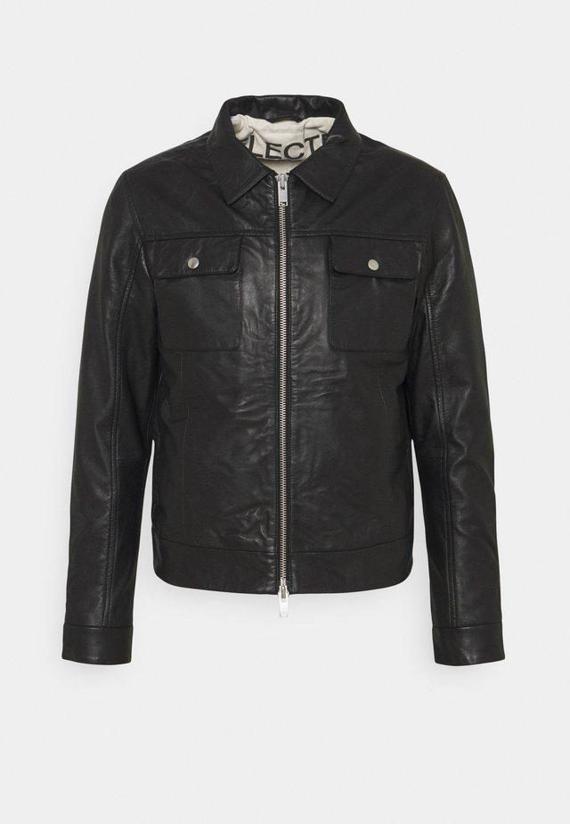 SLHICONIC BLOUSON  - Kožená bunda - black