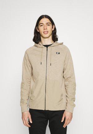 HOODIE - Zip-up sweatshirt - khaki/khaki/black oxidized