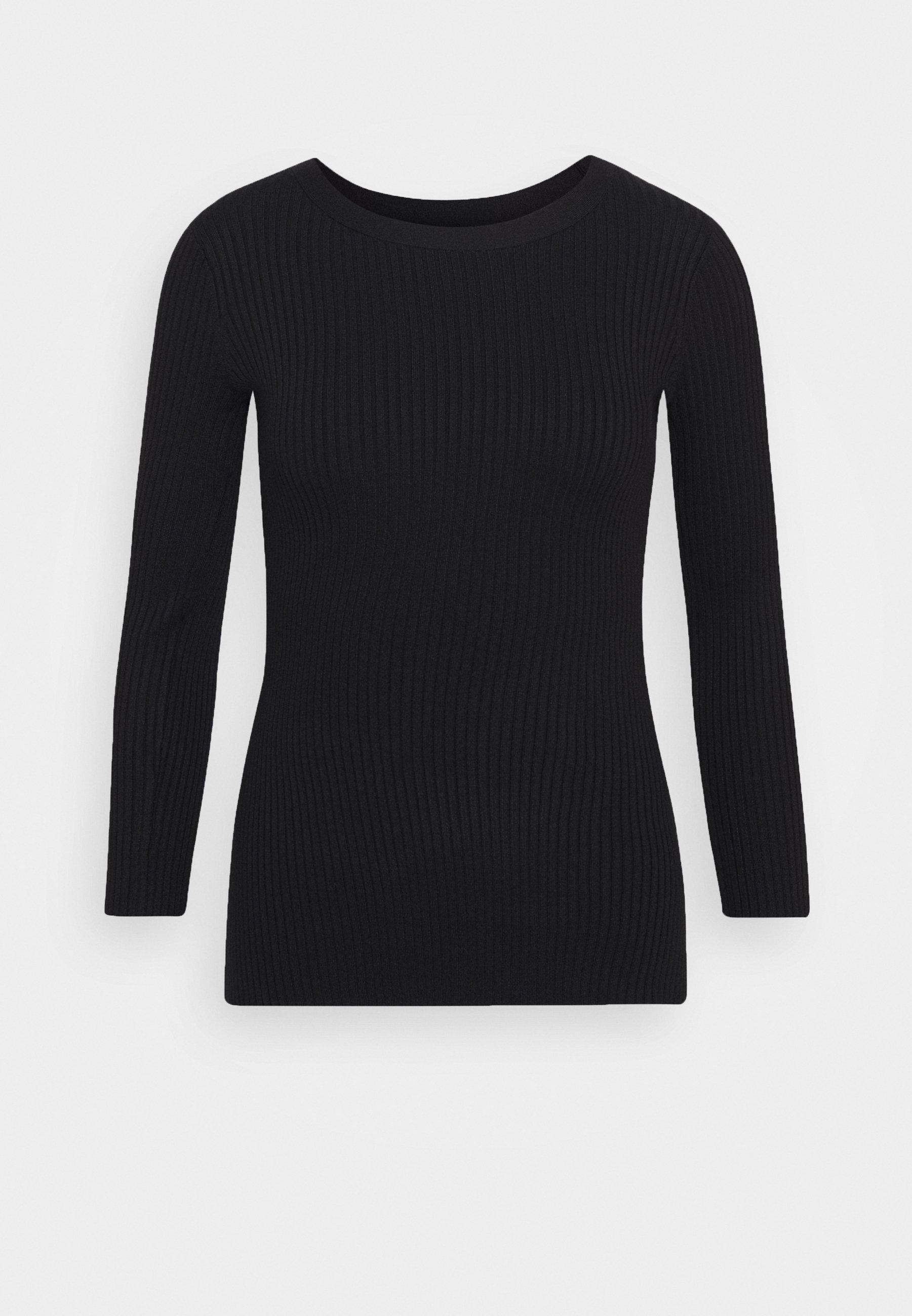 Anna Field BASIC rib 34 sleeve jumper Trui blackZwart