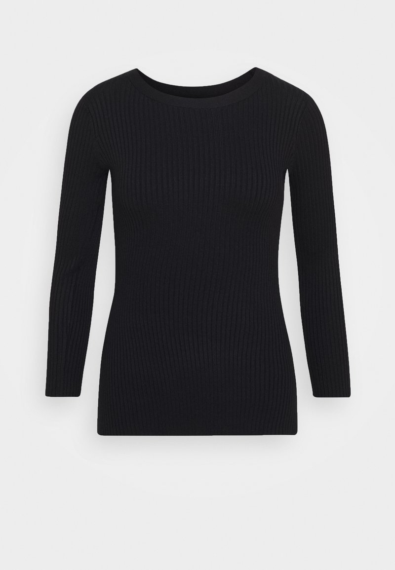 Anna Field BASIC- rib 3/4 sleeve jumper - Strickpullover - black/schwarz 8DJU4H