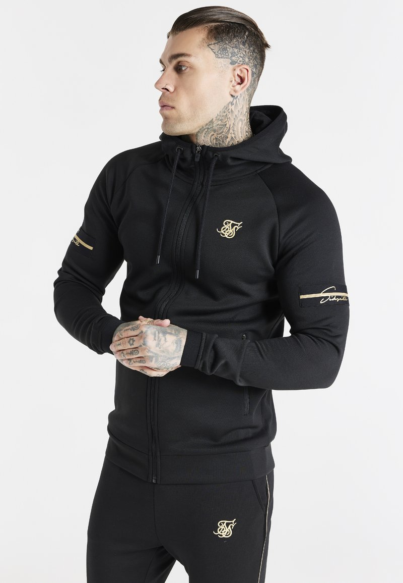 SIKSILK - EXPOSED TAPE ZIP THROUGH  - Zip-up sweatshirt - black