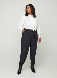 Zizzi - MIT BINDEDETAIL - Button-down blouse - off-white - 1