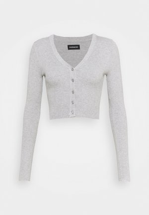 CROPPED CARDIGAN - Cardigan - mottled light grey
