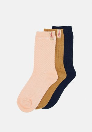 WOMEN FASHION STRUCTURED SOCKS 3 PACK - Skarpety - toasted coconut