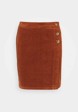 WRAP BUTTON SKIRT - Mini skirt - tan
