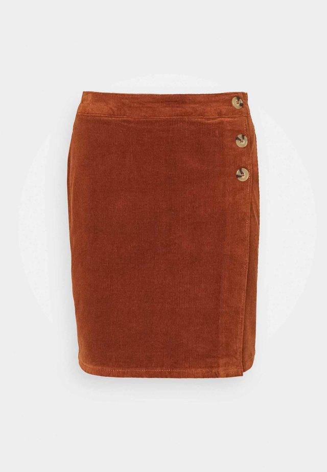 WRAP BUTTON SKIRT - Mini skirt - tan