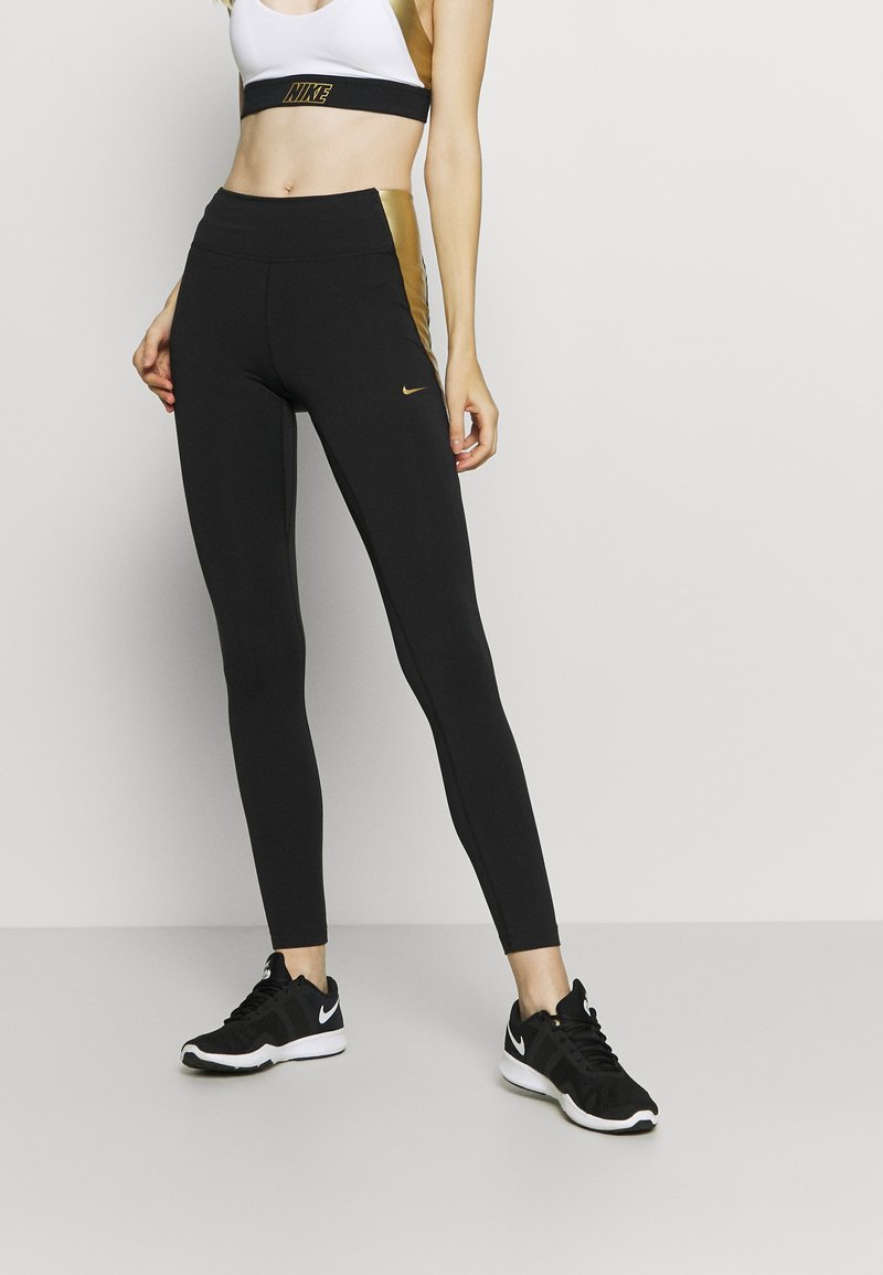 Nike Performance - ONE COLORBLOCK - Tights - black/metallic gold