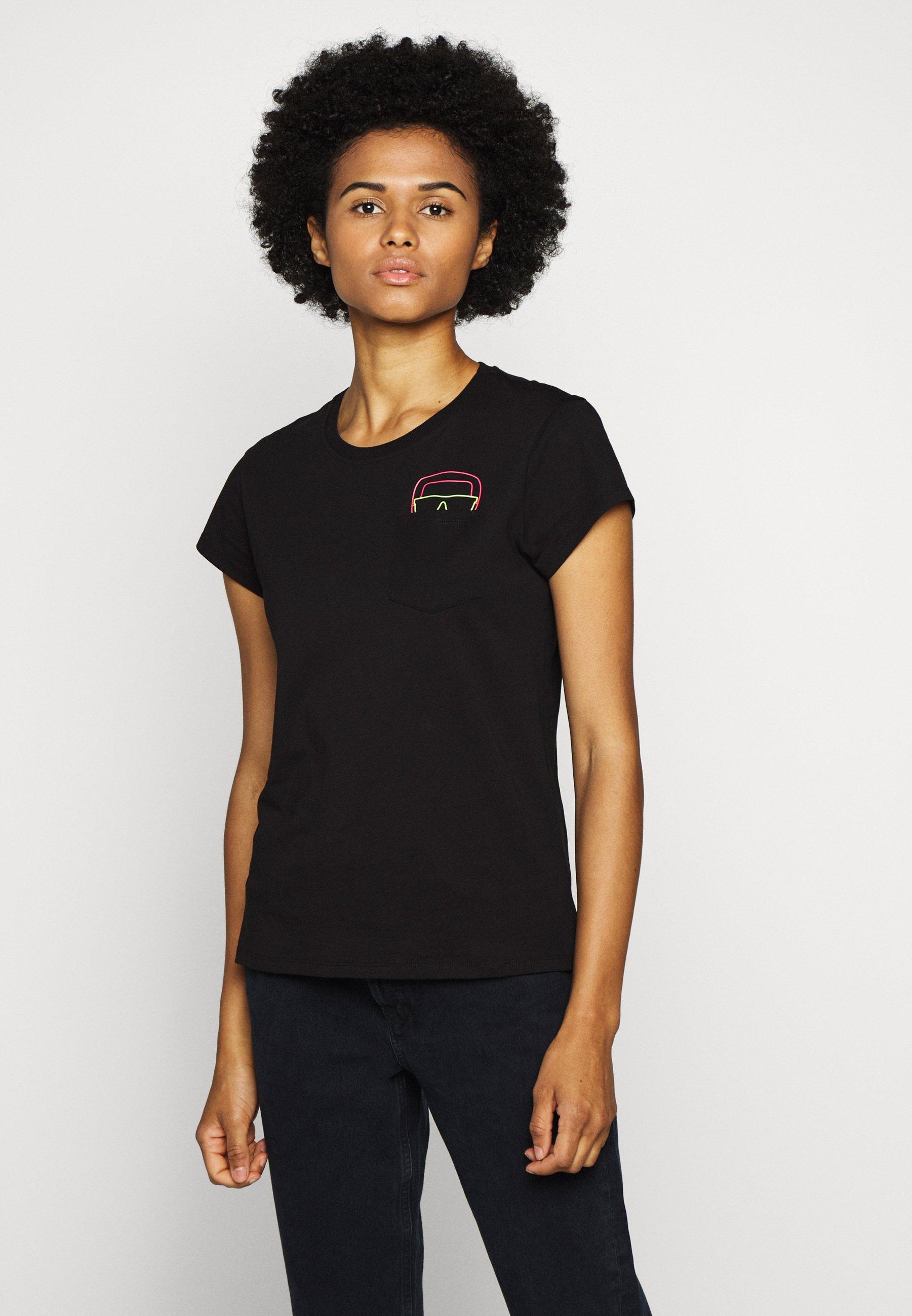 Fast Delivery Women's Clothing KARL LAGERFELD IKONIK POCKET TEE GLASSES Print T-shirt black D9qoSoI2U